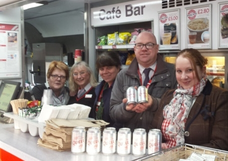 Judi-mae with Greater Anglia staff celebrating the train launch of Quell IPA